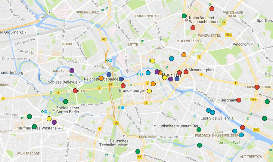 Stadtplan von Berlin mit Tipps und Souvenirs